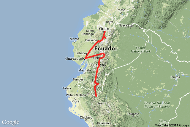 Map of route in Ecuador