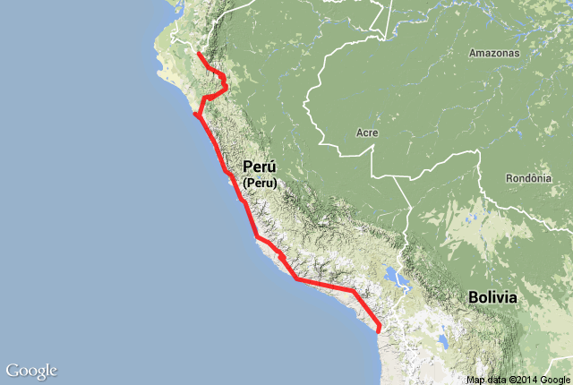 Map of route in Peru