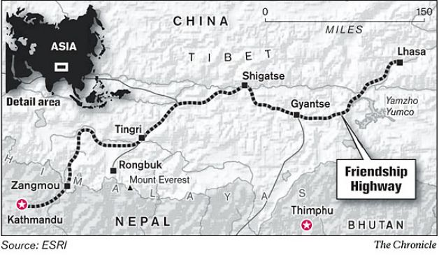 Map of Friendship Highway