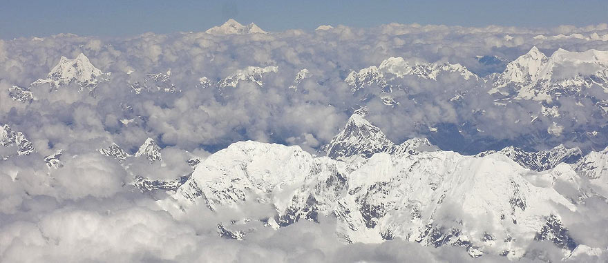 Mount Everest seen from the airplane from Lhasa to Kathmandu