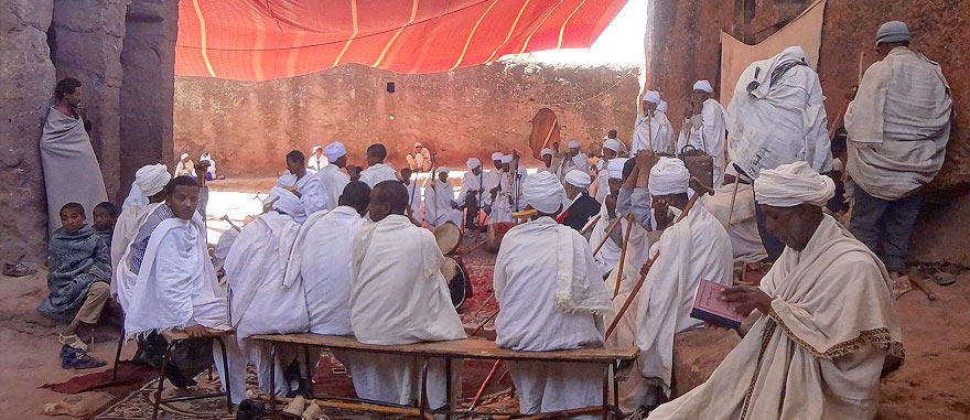 Religious ceremony in Lalibela's Rock-Hewn Churches