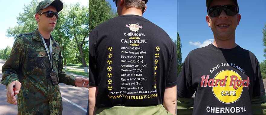 Nikolai the Chernobyl Tour Guide - T-shirt of Hard Rock Cafe Chernobyl - Open since 26th April 1986