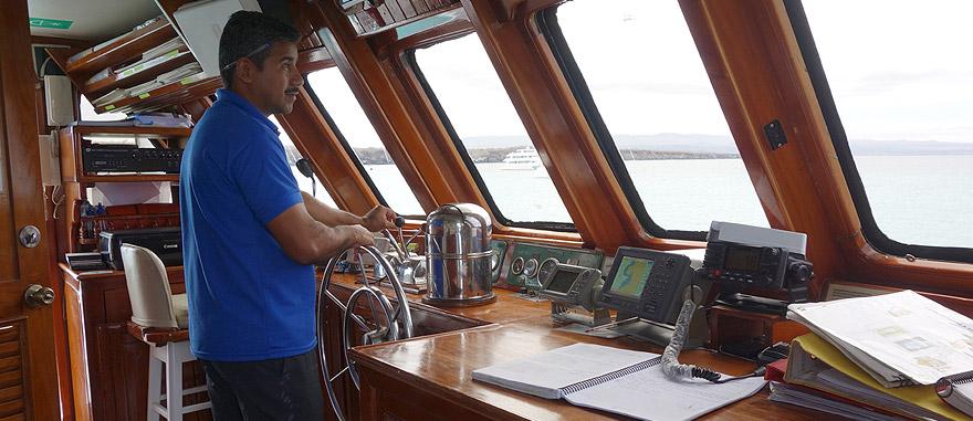 Captains Bridge of Estrella del Mar Galapagos Cruise