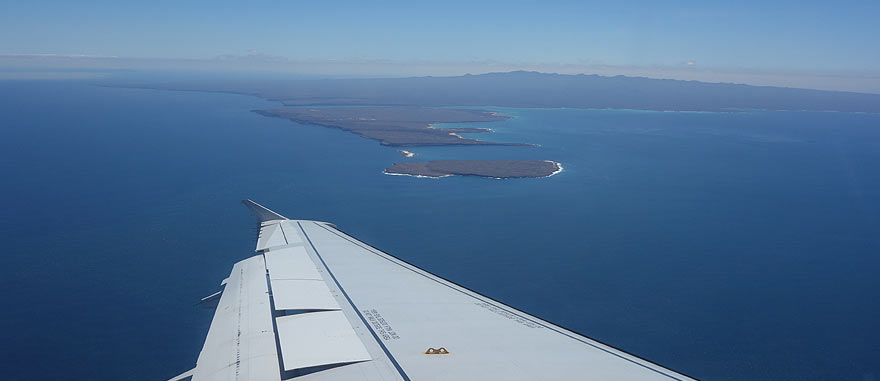 Airplane arriving to Baltra Island at Seymour Airport in the Galapagos