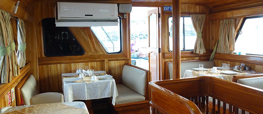 Main Dining Area of Estrella del Mar Galapagos Cruise