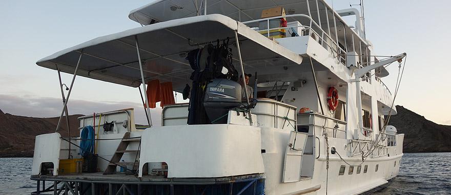 Stern of Estrella del Mar Galapagos Cruise