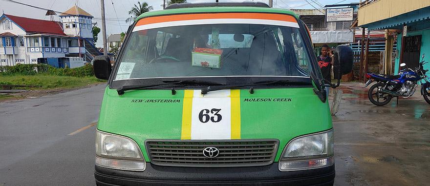 Minivan from New Amsterdam to Skeldon in Guyana