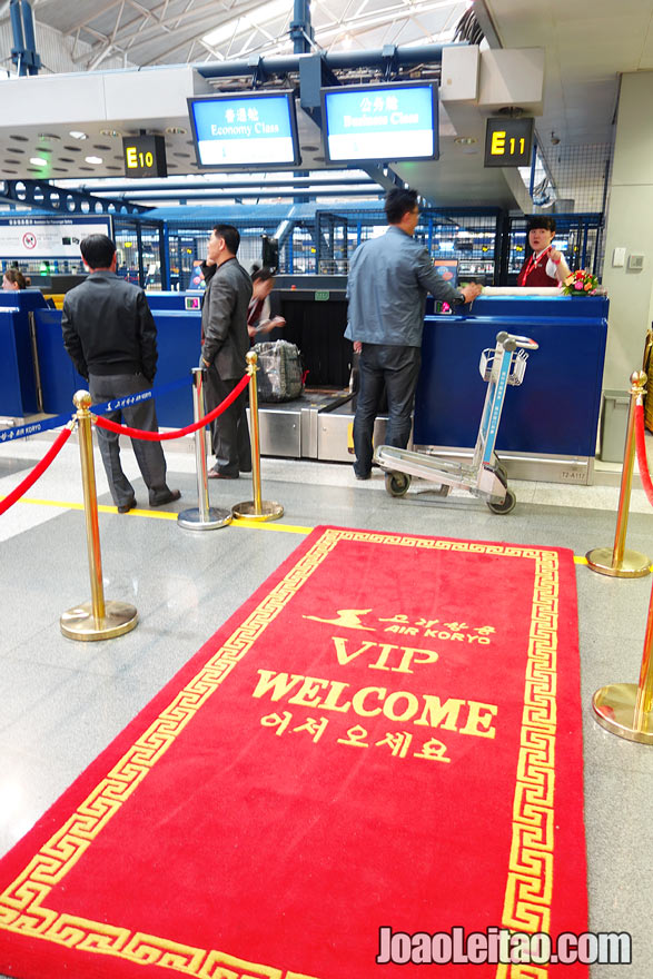 Air Koryo red carpet at Beijing airport - welcoming detail. Air Koryo Korean Airways is the national airline of North Korea.