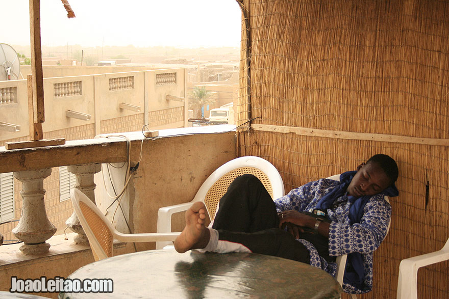 Boy sleeping on the terrace of the Timbuktu market