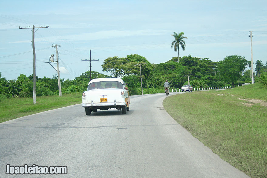 Old American car on Cuban road