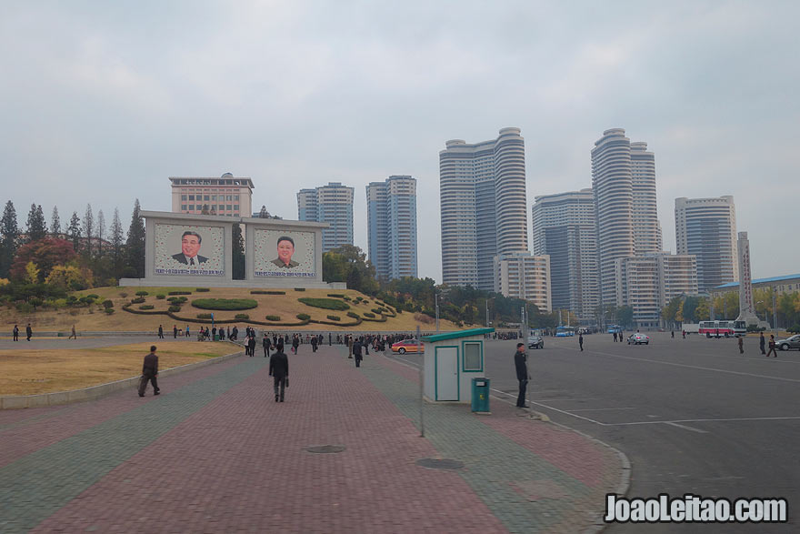Downtown Pyongyang is clean, modern and colorful.