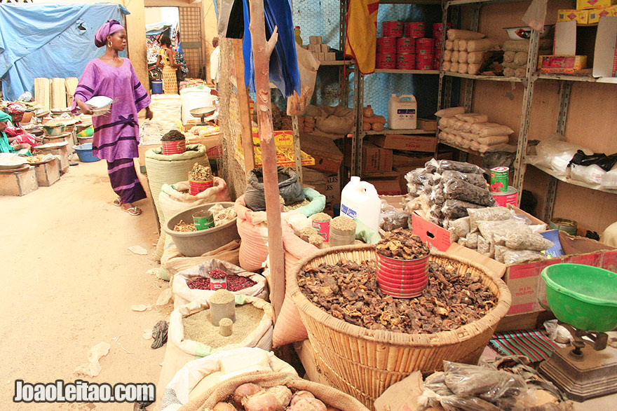 Woman shopping inside Timbuktu central market