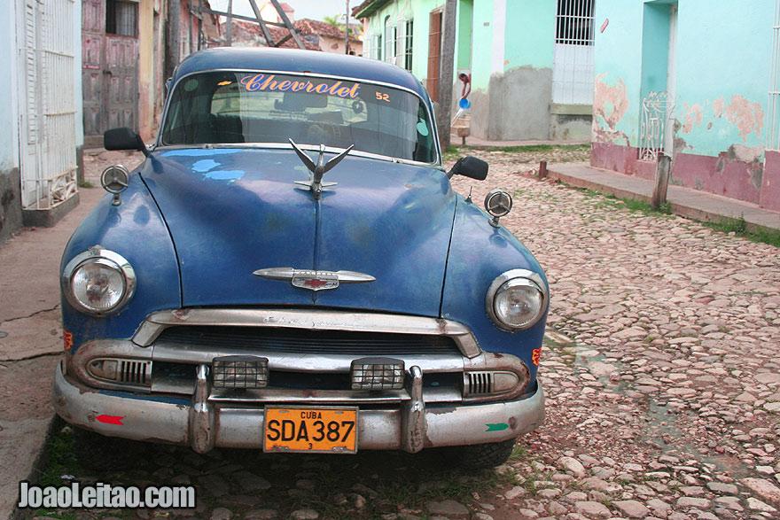 Old blue Chevrolet car