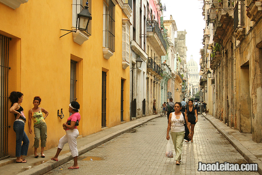 Old Havana street with National Capitol Building top