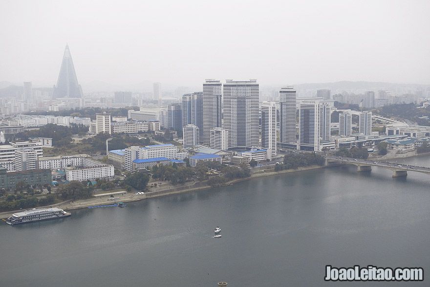 Upper view over Downtown Pyongyang