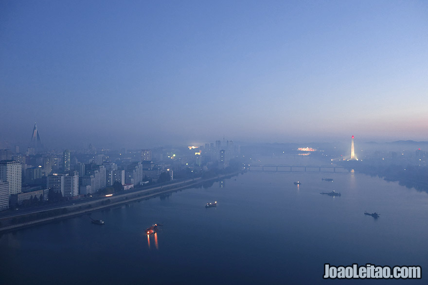 My bedroom view from the 29th floor at the Yanggakdo International Hotel in Pyongyang