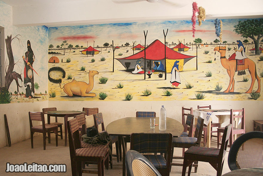 Restaurant wall painted with Tuareg motifs in Timbuktu