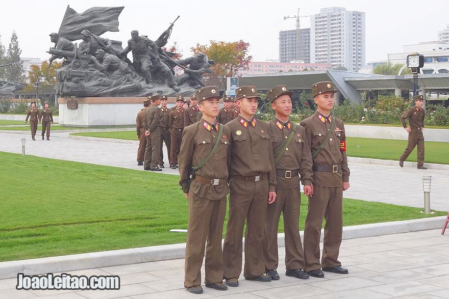 North Korean young soldiers in the Victorious War Museum in Pyongyang