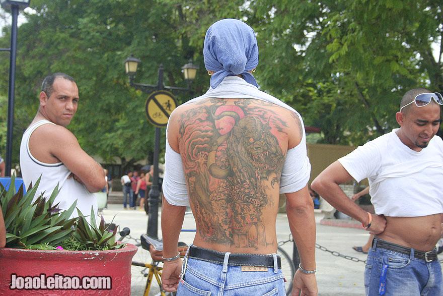 Tattooed man in Bayamo
