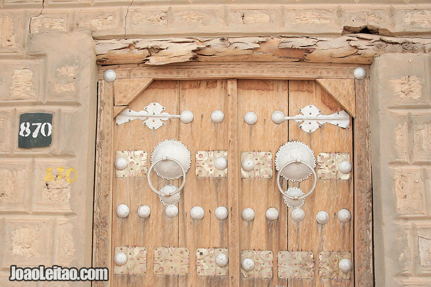 Traditional wooden door and metal decoration in Timbuktu center