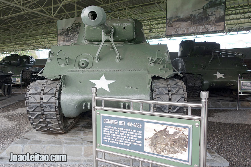 US vehicles from the 50's. In the Victorious War Museum in Pyongyang you can see several types of tanks, 4X4 and airplanes from the times of the Korean War.