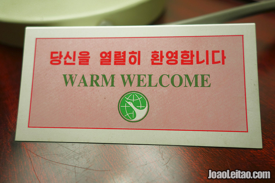 """Warm Welcome"" card in Yanggakdo International Hotel bedroom"