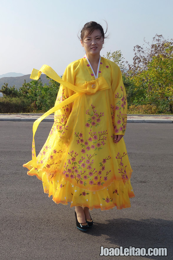 Beautiful yellow traditional Korean dress.