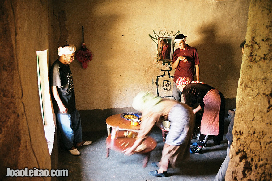 Photo of inside an authentic Berber house in the Atlas Mountains, Morocco