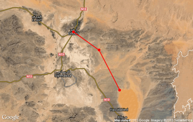 Map of Merzouga and Erfoud region - Itinerary of traveling by bicycle in Morocco