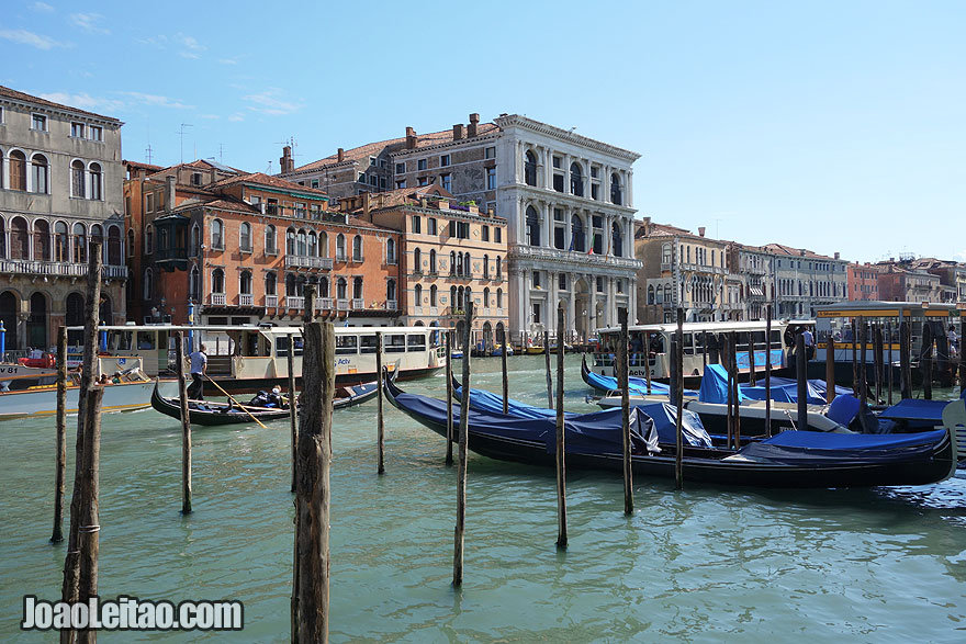 Vaporetto Water Buses and gondolas in the Grand Canal