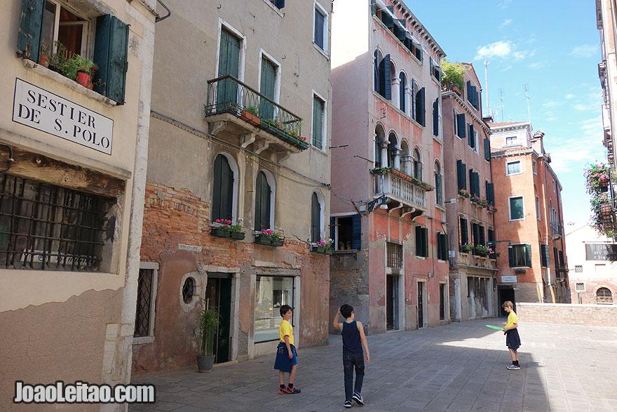 Italian kids playing in Venice
