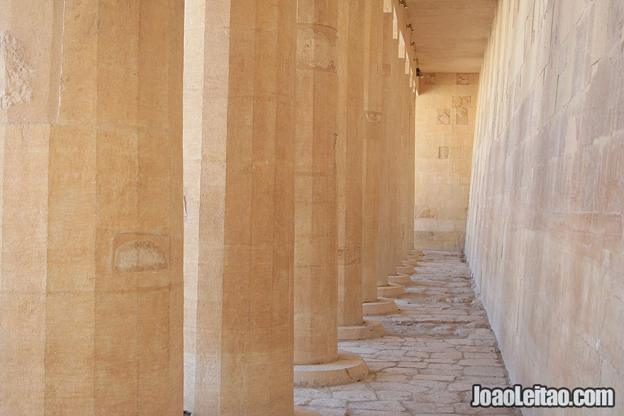 Columns inside the Mortuary Temple of Hatshepsut in Luxor