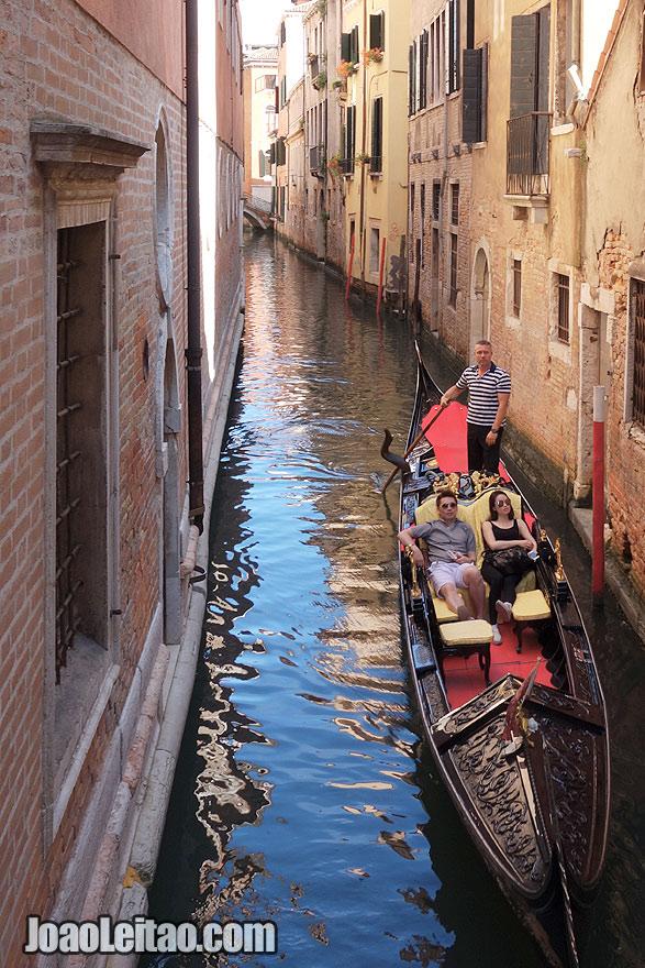 Tourist on a gondola ride
