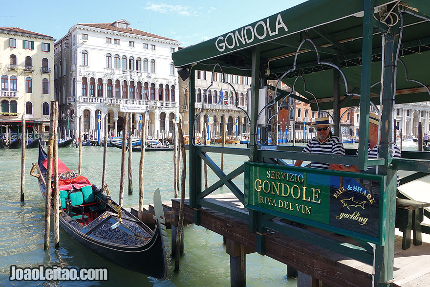 Gondola stop in the Grand Canal