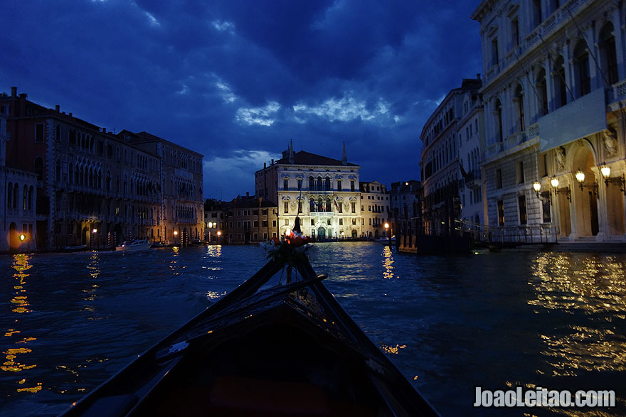 Romantic sunset gondola ride in Venice