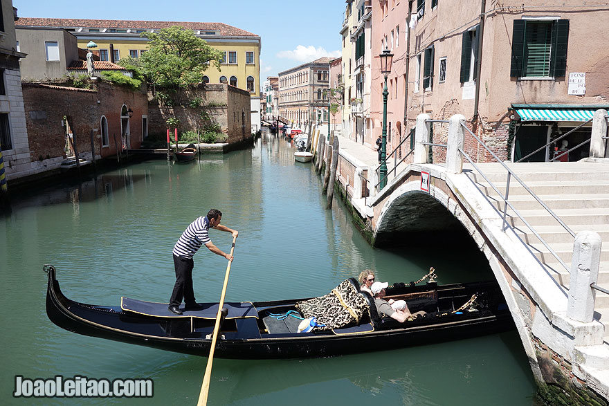 Gondola ride inside small inner canal in Venice