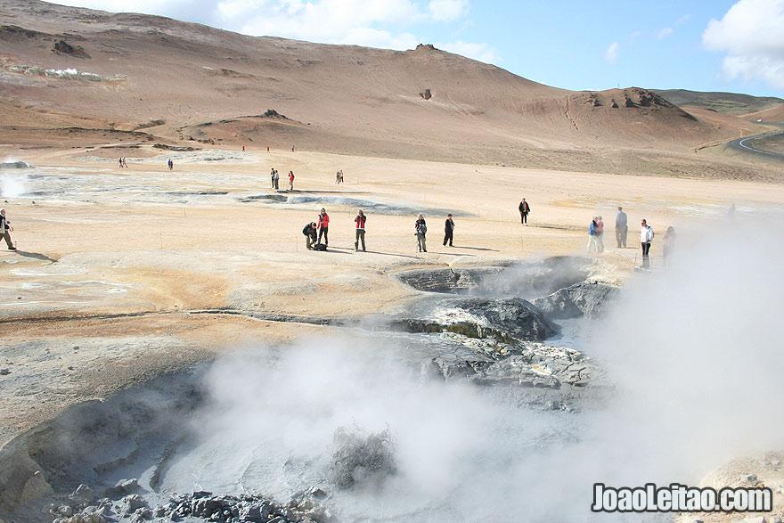 Visit Hverir geothermal area boiling mudpools steaming fumaroles Northeastern Region Iceland