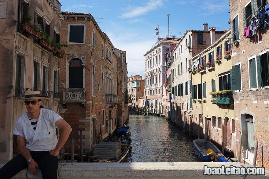 Gondolier Venetian boatman waiting for clients