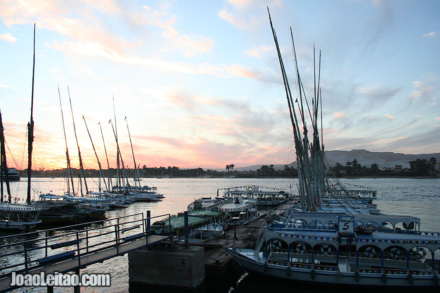Felucca boats in Luxor harbor