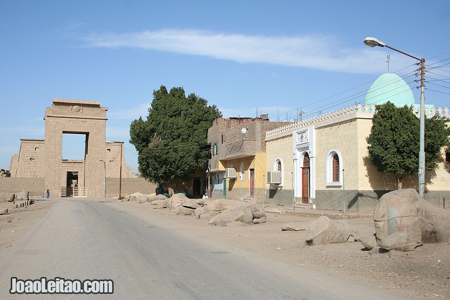 Street and temple entrance in Luxor's West Bank