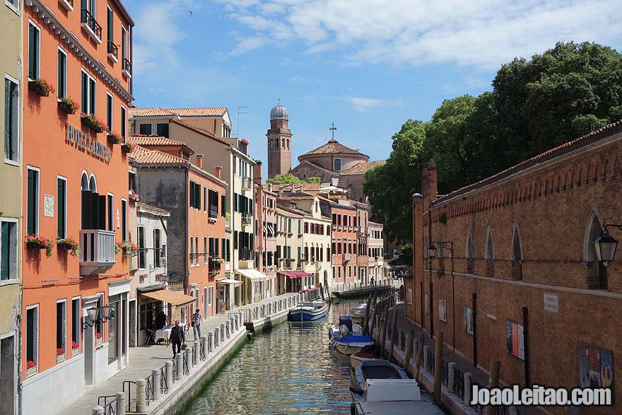 Venice canal with Chiesa di San Nicola da Tolentino Church