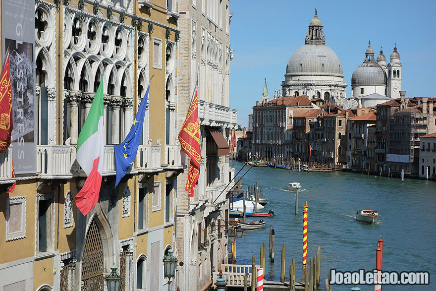 View from the top of Ponte dell'Accademia, one of only four bridges in Venice