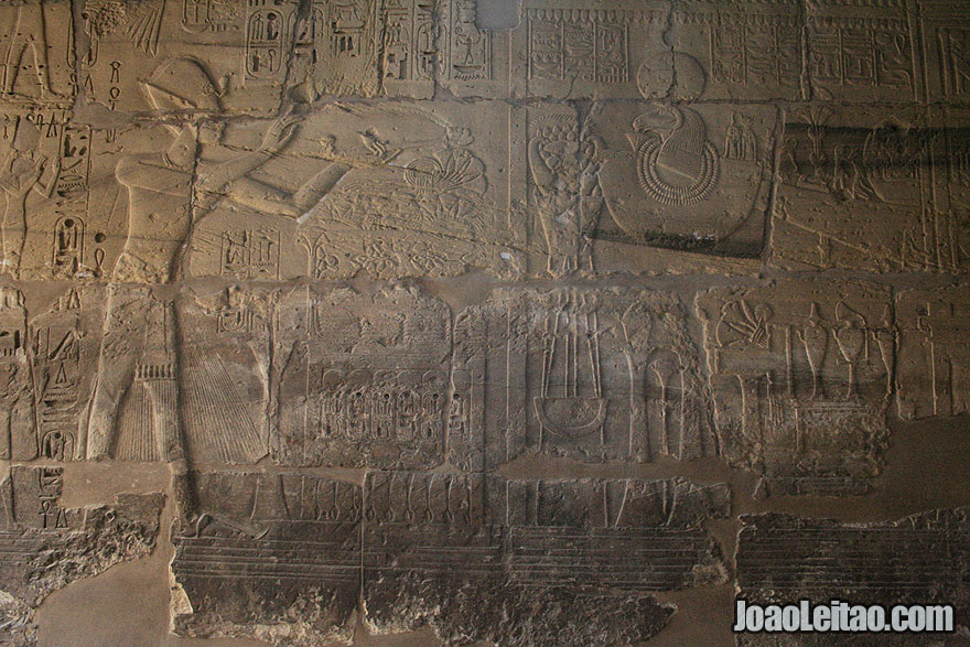 Wall carvings depicting an ancient Egyptian ceremony in Karnak Temple