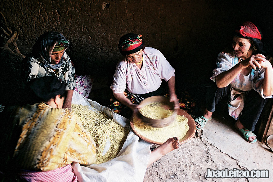 Photo of Berber women preparing couscous, Morocco
