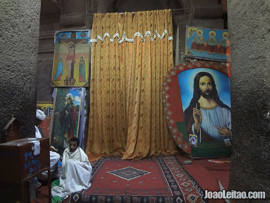 Inside Rock-Hewn Church of Bet Medhane Alem in Lalibela