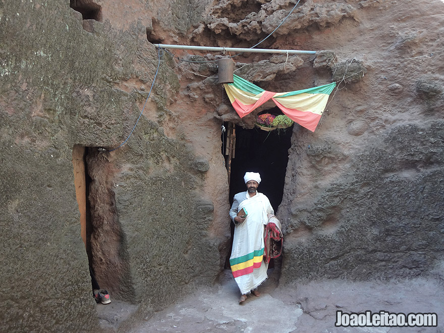 Priest outside Bet Uraiel Church in Lalibela, Ethiopia