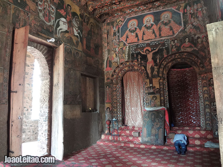 Interior of 17th Century Gondar Debre Birhan Selassie church built by Emperor Eyasu II, Ethiopia