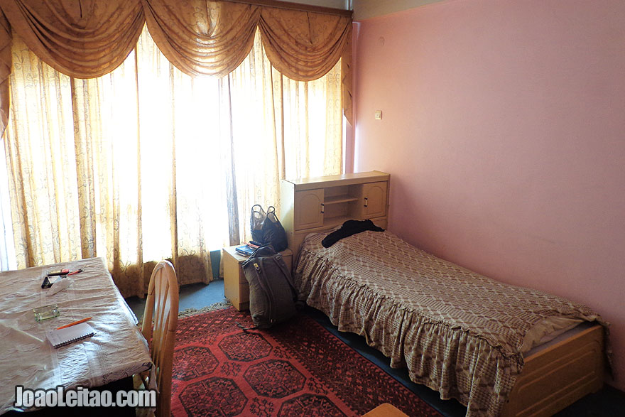 Bedroom of my hotel in Mazar-e Sharif