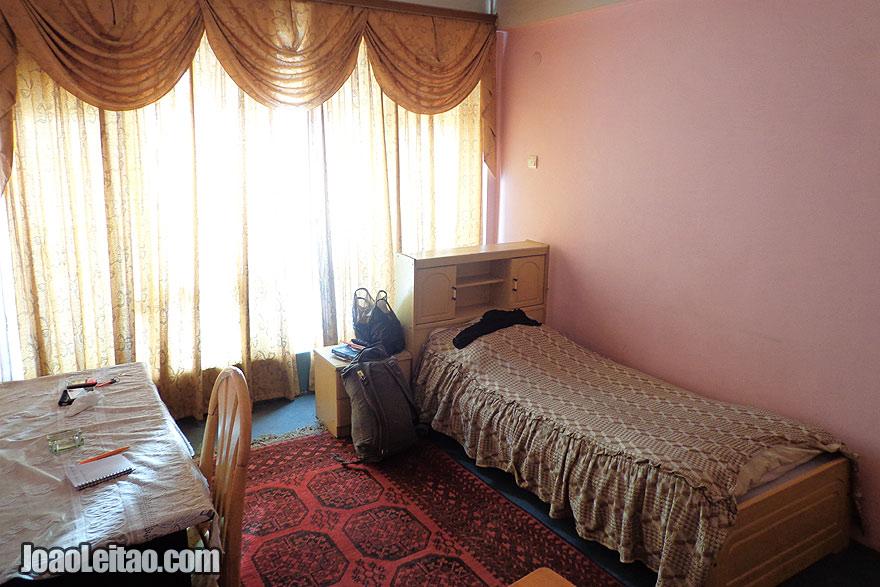 Bedroom of my hotel in Mazar-e Sharif