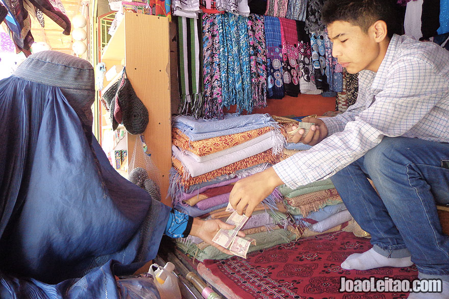 Woman with Afghan Burqa in Mazar-i-Sharif Bazaar